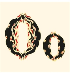 Fiery font letter o on white vector