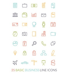 Business line icon set vector