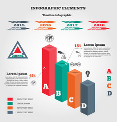 Infographics elements 3d columns chart of data vector