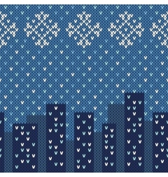 Winter city ornament on the knitted texture vector