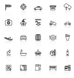 Map place line icons with reflect on white vector
