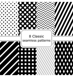 Set of 8 classic black - white seamless patterns vector