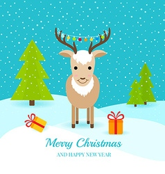 Cute deer with gifts and garland on horns vector