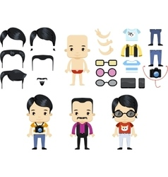 Asian male hipster avatar set vector