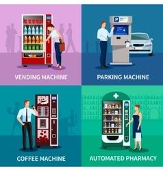 Vending machines concept icons set vector