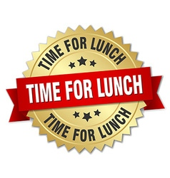 Time for lunch 3d gold badge with red ribbon vector