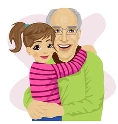 Grandfather hugging her cute granddaughter vector image