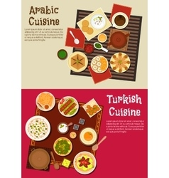 Arabian and turkish cuisine dishes vector image