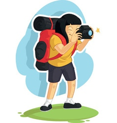 Backpacker Girl Taking Photo vector image vector image