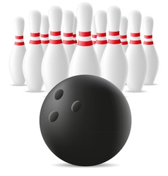 bowling ball and skittles vector image vector image