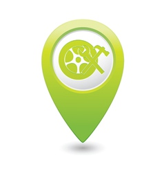 Car wheel service icon on green map pointer vector