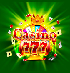 Casino 777 big win slots and fortune king banner vector