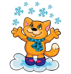 Cat and snow on a white background vector image