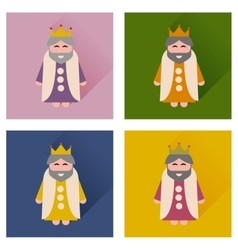 Concept of flat icons with long shadow medieval vector