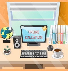 Education online or elearning theme design vector
