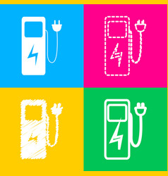 Electric car charging station sign four styles of vector