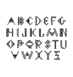 Ethnic font Native american indian alphabet vector image vector image