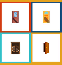 Flat icon approach set of saloon door exit and vector