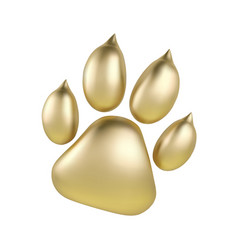 golden paw print of animal logotype or icon vector image