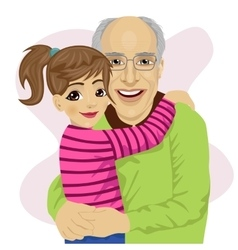 Grandfather hugging her cute granddaughter vector image