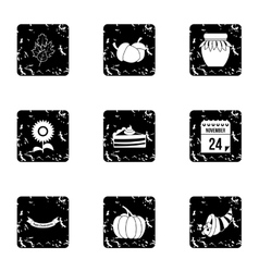 Gratitude celebration icons set grunge style vector