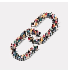 group people form chain link vector image