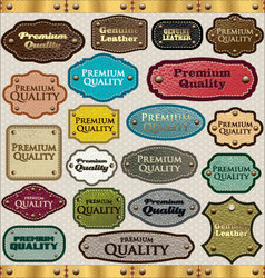 Leather premium quality labels vector