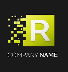 letter r logo symbol in the colorful square vector image vector image