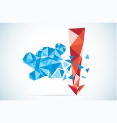 Polygonal bear symbol with red arrow stock market vector