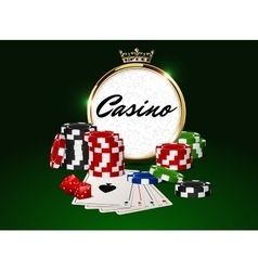 Round casino golden frame crown poker chips vector