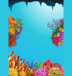 Scene with coral reef underwater vector
