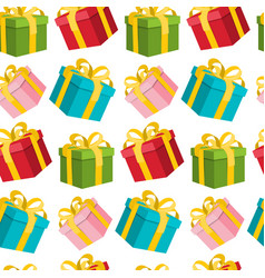 Seamless gift boxes background wrapping paper on vector