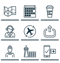 Set of 9 travel icons includes aircraft arrow vector