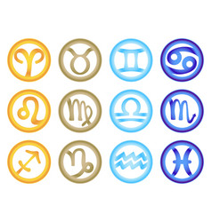 Set of zodiac signs colored respectively with the vector