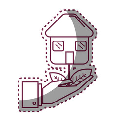 Sticker house plant with leaves in the hand vector