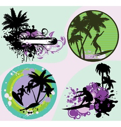summer frames set with palm trees vector image vector image