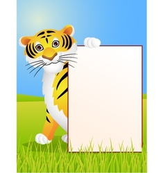 Tiger cartoon with blank sign vector image vector image