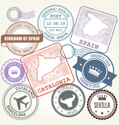 travel stamps set barcelona catalonia and spain vector image