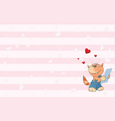 Valentines card with cute tabby cat i vector