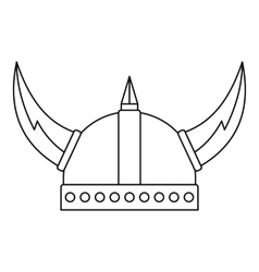 Viking helmet icon outline style vector image