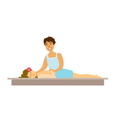 Young woman having a rejuvenating massage in a vector
