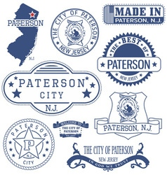 Paterson city new jersey stamps and seals vector