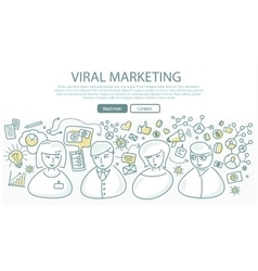 Viral marketing banner in linear style vector