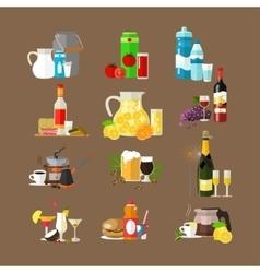 set of beverages icons flat design vector image