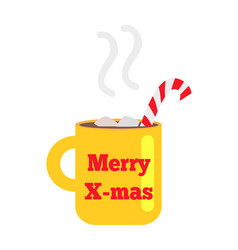 Merry christmas yellow cup with striped straw vector