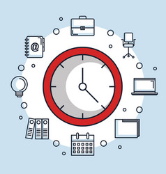 red round clock time office business icons vector image