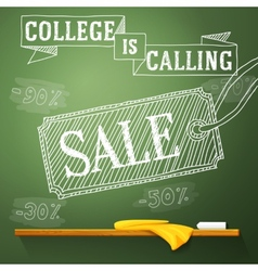College is calling sale on the chalkboard with vector