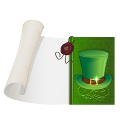 Leprechaun hat and paper scroll vector