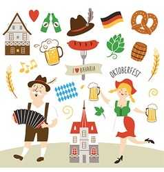 Set of germany and bavaria symbols vector