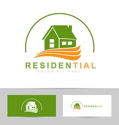 Real estate house green orange logo vector